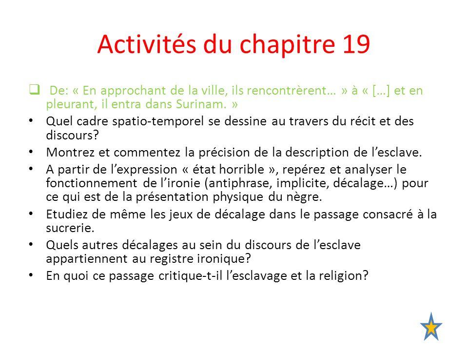 Activités du chapitre 19 De: « En approchant de la ville, ils rencontrèrent… » à « […] et en pleurant, il entra dans Surinam. »